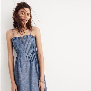 Madewell   Pintuck Chambray Ruffle Cami Dress